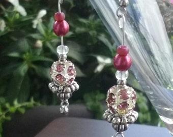 Rose Colored dangle earrings set