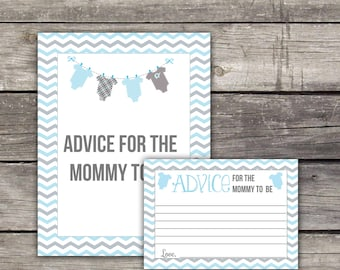 Blue and Grey Chevron Baby Shower Advice for Mommy to Be Card - Advice Card - Baby Shower Game Baby-154