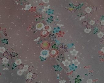 Japanese vintage kimono silk fabric Butterflies and Chrysanthemum