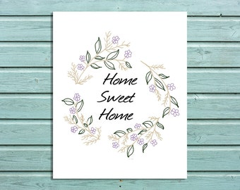 "Digital Print ""Home Sweet Home"" Floral Wreath Wall Art Home Decor"