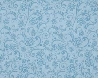 Light Blue Fabric | Floral Swirl Light Blue | sold by the Fat Quarter