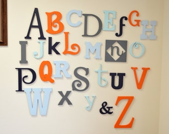 Wooden Alphabet Letters -Alphabet Set - Wooden Letters - Painted Nursery Wall Letters,  Wood Letters Wall Hangings Full set of Letters