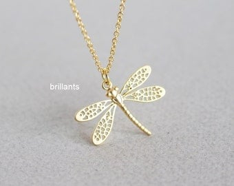 Dragonfly necklace, Insect necklace, Bridesmaid jewelry, Everyday necklace, Wedding necklace