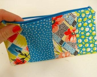 Handmade Patchwork Pencil Case/Make Up Bag - Blue, Green