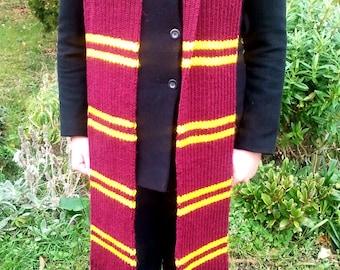 Harry Potter scarf, Gryffindor scarf, high quality, extra wide, extra long, Harry Potter gift, Harry Potter clothing, ribbed scarf, Hogwarts