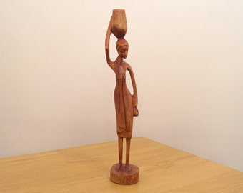 Woman Statue / Figurine || Vintage Wood