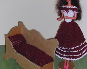 Crochet Fashion Doll Barbie Furniture Pattern- #481 FAINTING COUCH