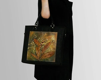 SALE - 20% hand-painted Office - real leather bag