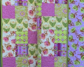 Lilly Rose Throw Quilt/Large Lap Quilt/Homemade Quilt/Girl Quilt/56x65