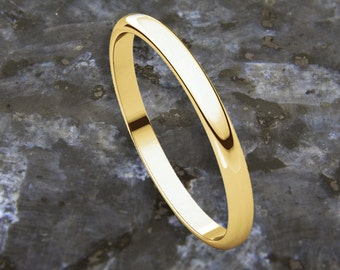 2mm Half Round / D Shape 18K Gold Wedding Band (available in Yellow Gold, Rose Gold and White Gold options)
