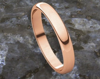 4mm Half Round (D Shape) 9K Gold Wedding Band (available in Yellow Gold, Rose Gold and White Gold options)