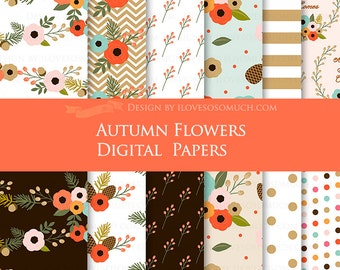 Autumn Flowers / Fall Floral / Fall Digital Paper Pack - Instant Download - DP119
