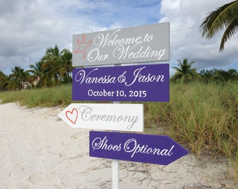 Welcome Wedding Sign/Beach Wedding Decor/Lavander Shoes Optional Directional sign/Gift for couple