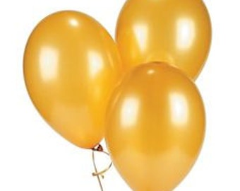 Gold Party Latex Balloons/ Gold metallic