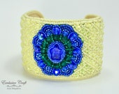 Beaded cuff bracelet, bead embroidered bracelet, sapphire bracelet, blue yellow beaded bracelet