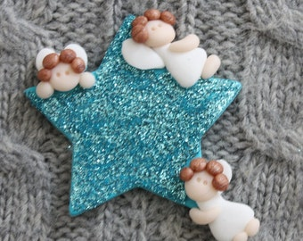 3 Little Angels card topper/magnet/brooch polymer clay/Fimo BUY 5 GET 1 FREE