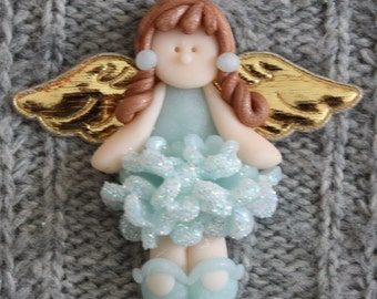 Blue Angel magnet card topper/brooch/pendant, polymer clay/Fimo BUY any 5 GET 1 FREE