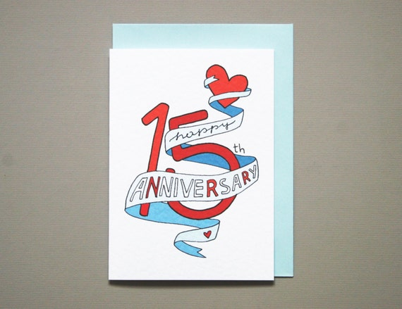15 Year Wedding Anniversary Gift For Husband: 15th Anniversary Card Anniversary Card Friends Anniversary