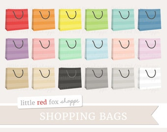 Shopping Bag Clipart, Striped Handbag Clip Art Grocery Shop Icon Paper Gift Sack Groceries Cute Digital Graphic Design Small Commercial Use