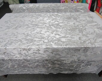 Camouflage multi color mesh lace Fabric white silver. Sold by the yard.