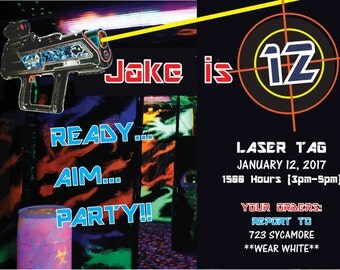 Personalized 4x6 OR 5x7 Laser Tag Birthday Invitation in Hi-Res JPEG or PDF Format. You Can Choose Options with or without Photo.
