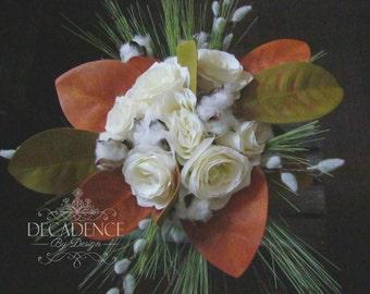 Natural Bouquet, Cotton Bouquet, Pine Bouquet, Magolia Leaf Bouquet, Fall Bridal Bouquet, Winter Bouquet, Bouquet, Keepsake Bouquet