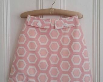 Handmade 60s Mod style A-line mini skirt. Orange & pink. Size 8