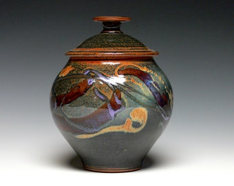 Covered Jar, Stoneware Cremation Urn, Pottery Urn, Ceramic Pet Urn, Lidded Jar, Kitchen Storage Jar, Cookie Jar