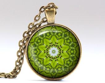 Mandala necklace Indie jewelry Boho pendant OWA419