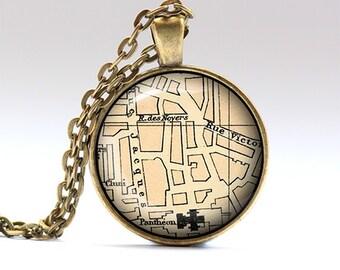 Paris necklace France pendant Map chain RO609