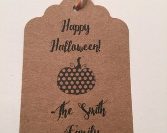 Set of 6 Kraft Thank you Halloween Thanksgiving Gift Tags Favor Tags-Ships in 3-5 days!