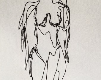 """Continuous Line """"Body Goals""""  Drawing Print"""