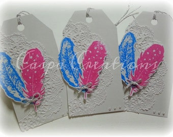 Tags- Feathers- set of 5