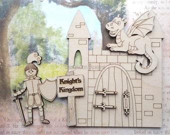 Knights Kingdom Castle with dragon lasercut set