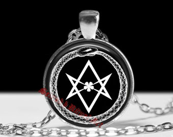 Ouroboros pendant, hexagram pendant, thelema jewelry, thelema pendant, snake necklace, snake pendant, occult pendant, crowley necklace #28b