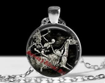 Death on pale horse necklace, skeleton jewelry, skeleton pendant, death pendant, skull necklace, occult pendant, memento mori necklace #244