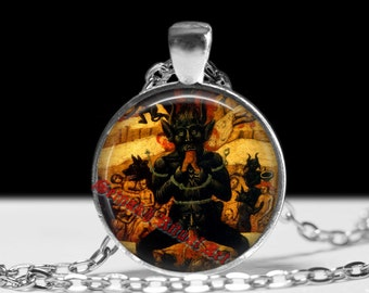 Satan devouring people pendant, devil necklace, medieval jewelry, occult talisman, hell picture, demons illustration #306