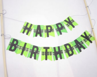 Paper Happy Birthday Bunting used as a cake or cupcake decoration, paper banner. Part of Creeper or minecraft themed products