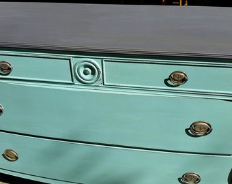 SOLD***Light Teal Distressed Dresser