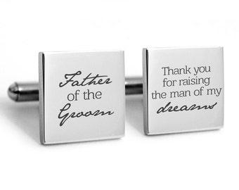 Wedding cuff links Father of the Groom, Father in law, Heirlom quality cuff links, FOG, wedding