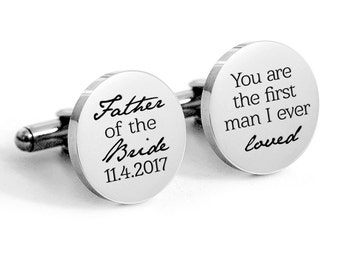 Father of the Bride Cufflinks, round stainless wedding cuff links, Gifts for Dad Cuff links
