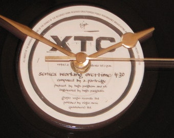"XTC senses working overtime  7"" vinyl record clock"