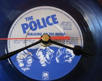 "The Police walking on the moon blue vinyl   7"" vinyl record clock"