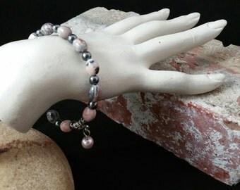 Zebra Jasper Stretchy Bracelet with PInk Pearl Charm