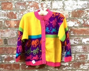 Vintage 1990s children's sweater animal print neon