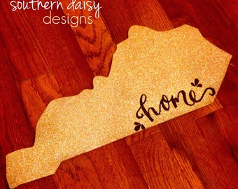 "Gold Glitter Kentucky ""Home"" Sign"