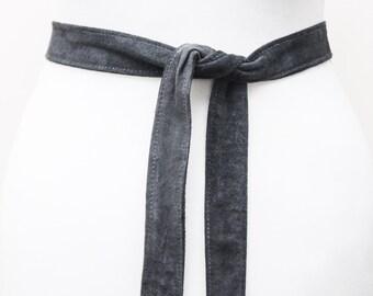 Dark Grey Suede Leather Narrow Obi Belt | Leather 2 inch Belt | Leather tie belt | Thin Dark Grey Leather Belt| Bridesmaid Belt