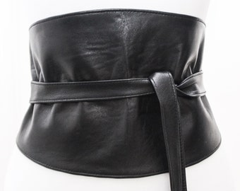 Black Wide Corset Obi Belt Soft Leather | Wide Waist Belt | Leather obi belt | Wide Corset Belt | Plus size belts