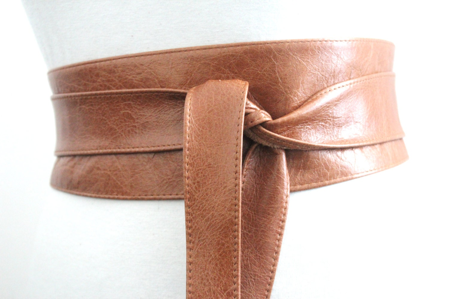 distressed brown leather obi belt western belt by