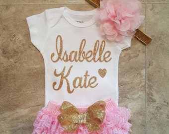 Gold Glitter Vinyl personalized name  bodysuit , Pink Lace Bloomers,& Headbnd Set, baby girl, newborn,hospital outfit,take home set